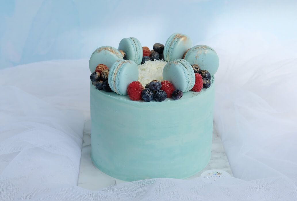 Sweet Pink Or Pretty Blue Or Happy Yellow Macaron Caked With Love